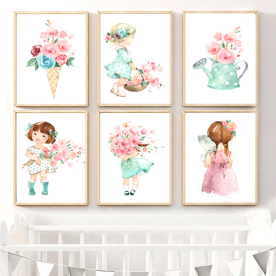 Cute Baby Girl Nursery Ideas: Cute Baby Girl Rose Flower Umbrella Nordic Posters And