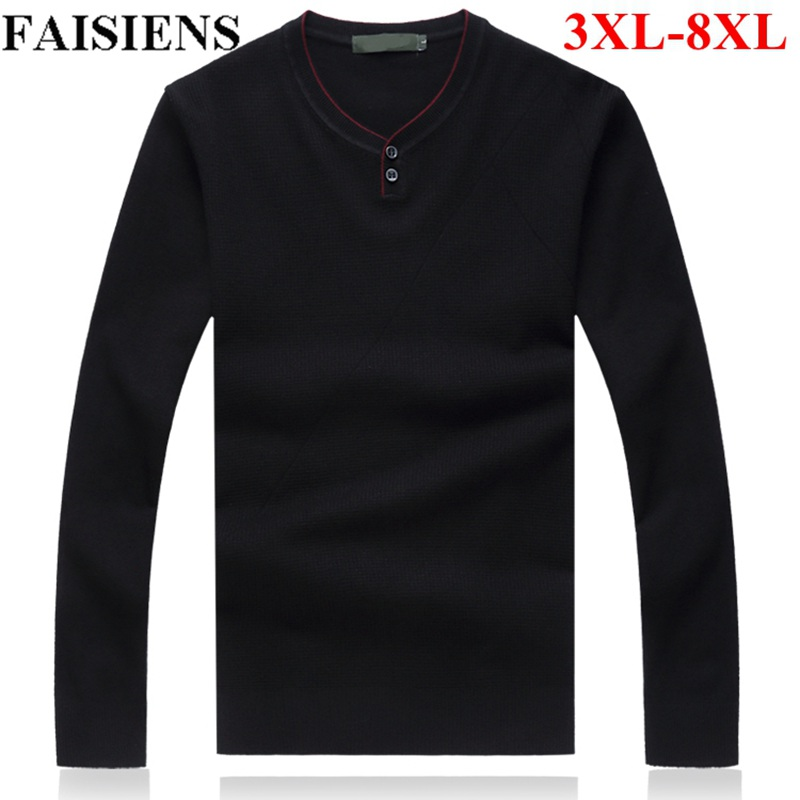FAISIENS Large Size 5XL 6XL Winter Warm Men's Sweaters V Neck Long Sleeve 7XL 8XL Plus Size Loose Blue Black Knitted Sweater