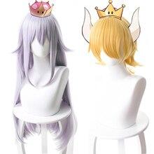 슈퍼 마리오 브라더스. Bowsette princess bowser 여성용 코스프레 가발 내열성 합성 머리 옐로우 퍼플 애니메이션 게임 가발