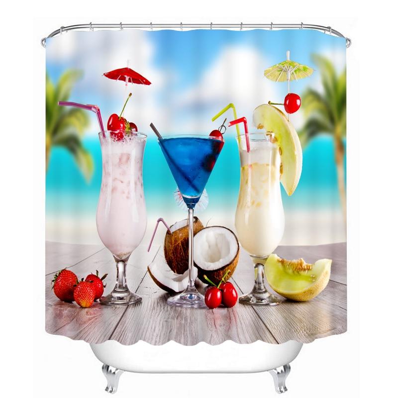 3d Sea View Shower Curtains Coconut Milk Watermelon Pattern Bathroom Curtain Waterproof Thickened Bath Customizable