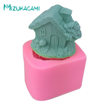 Fondant Liquid Silicone Mold 3D Stereo House Cabin Modeling Soap Candle Gypsum Epoxy Cake Decorating MI-00698