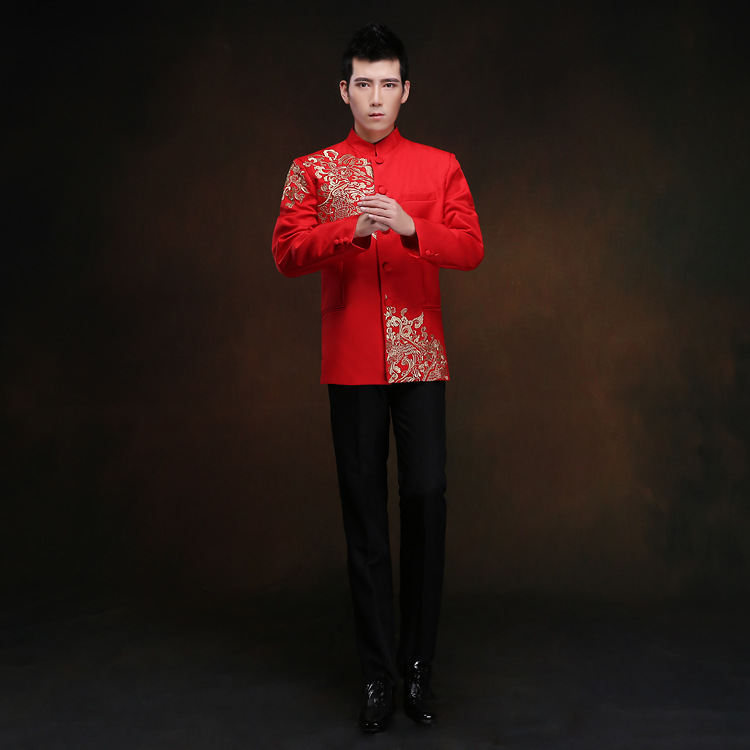赤いチュニック男性繁体字中国語男性東洋メンズclothing上海唐チャイナトップウェディング中国唐のスーツのための男性
