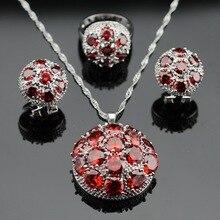 Hecho en China Gran Creado Granate Rojo Color Plata Joyería Nupcial Fija el Collar/Colgante/Pendientes/Anillos Para mujeres Caja de Regalo Libre
