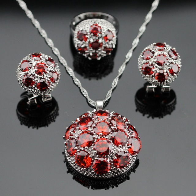 Made in China Huge Created Red Garnet Silver Color Bridal Jewelry Sets Necklace/Pendant/Earrings/Rings For Women Free Gift Box