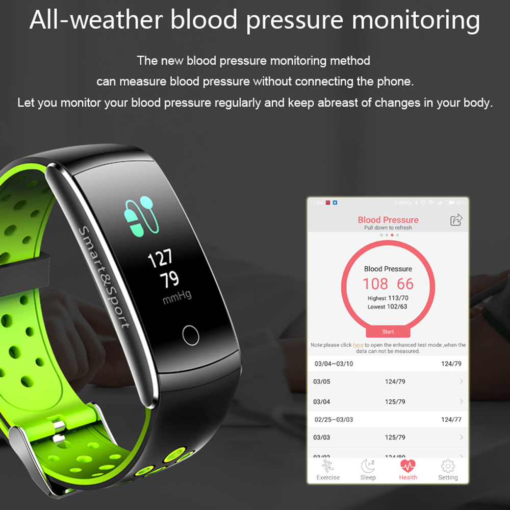 OGEDA Q8S Smart Watch Men Heart Rate Monitor IP68 Waterproof Fitness Tracker Blood Pressure Bluetooth for Android IOS Women Man
