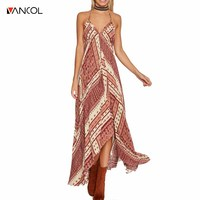 Vancol 2017 Summer Sexy Floral Asymmetrical Beach Casual Dress Maxi Wedding Party Women V Neck Split