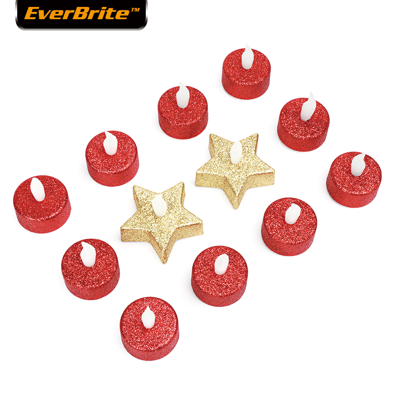 EverBrite 12-Piece Electronic Candle LED Light Colorful Romantic  Smokeless Flameless Candle Lamp With Battery