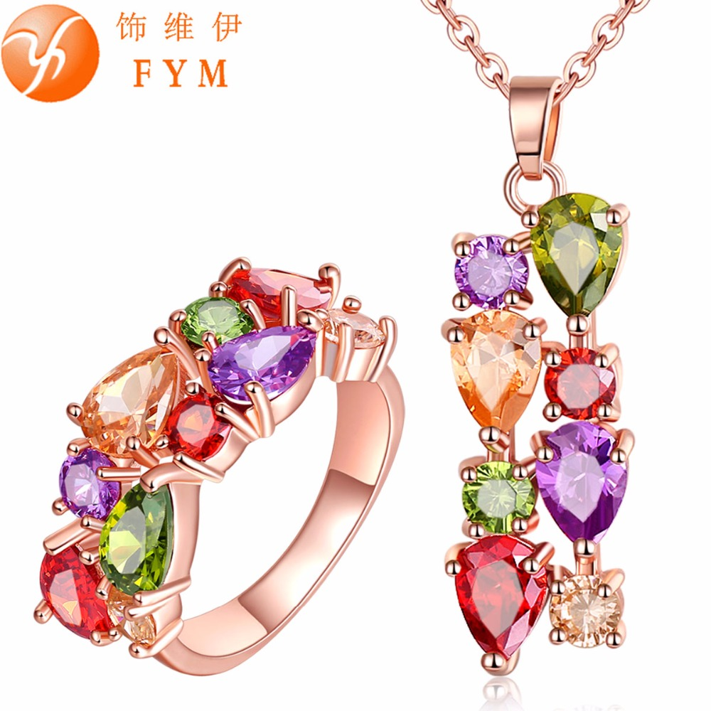 FYM Womens Colorful Rose Gold Color Jewelry Sets for Women Mona Lisa Cubic Zircon Necklace Ring Multicolor Jewellery Set JS0015