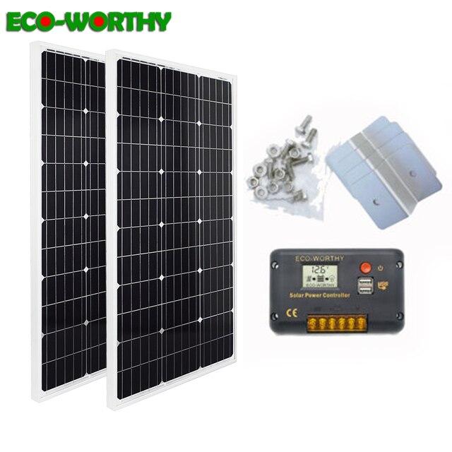 ECOworthy 200 Вт Солнечная Система питания: 2 шт 100 Вт моно солнечная панель питания и 20A ЖК контроллер и 8 шт. Z кронштейны Зарядка для 12 В батареи