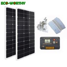 ECOworthy 200 W zonne energie systeem: 2 stuks 100 W mono solar power panel & 20A LCD controller & 8 stuks Z Beugels lading voor 12 V batterij