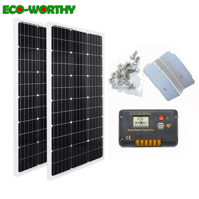 ECOworthy 200W solar power system: 2pcs 100W mono solar power panel& 20A LCD controller & 8pcs Z Brackets charge for 12V battery