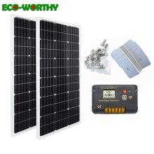 Sistema de energía solar ecocorthy de 200 W: panel de energía solar mono de 2 piezas de 100 W y controlador LCD de 20A y soportes Z de 8 piezas de carga para 12 V de la batería