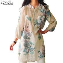 Newest 2016 Summer ZANZEA Women Blusas Vintage Floral Printed Blouses Elegant 3/4 Sleeve Linen Casual Long Tops Shirts Plus Size