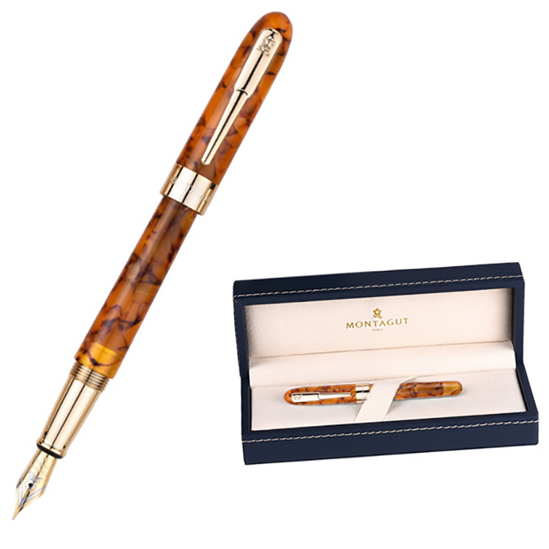 Montagut Celluloid Mini Fountain Pen Yellow-Maple Pocket Size Golden Clip Iridium Fine Nib 0.5mm Fashion Writing Gift Pen