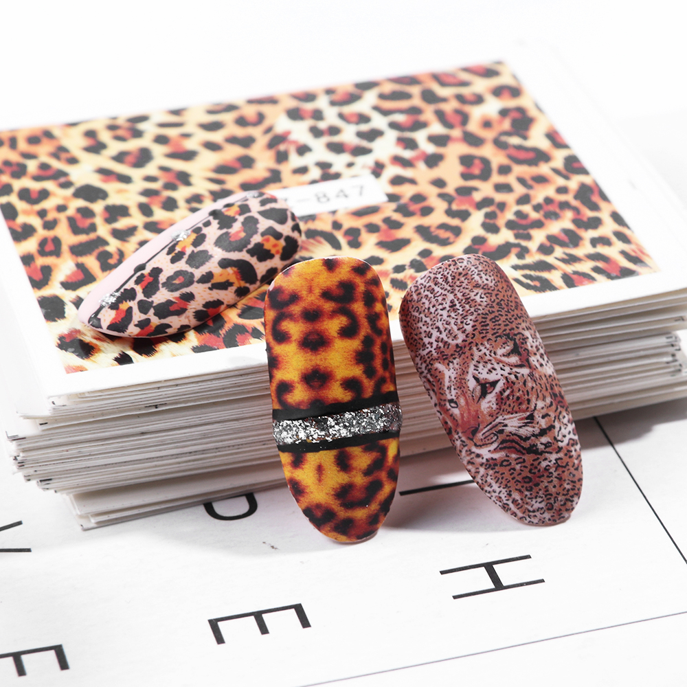 1pcs Leopard Print Nail Art Stickers Decorations Big Eye Decals For Manicure Transfer Wraps New Nails Design Tattoo TRSTZ816-855
