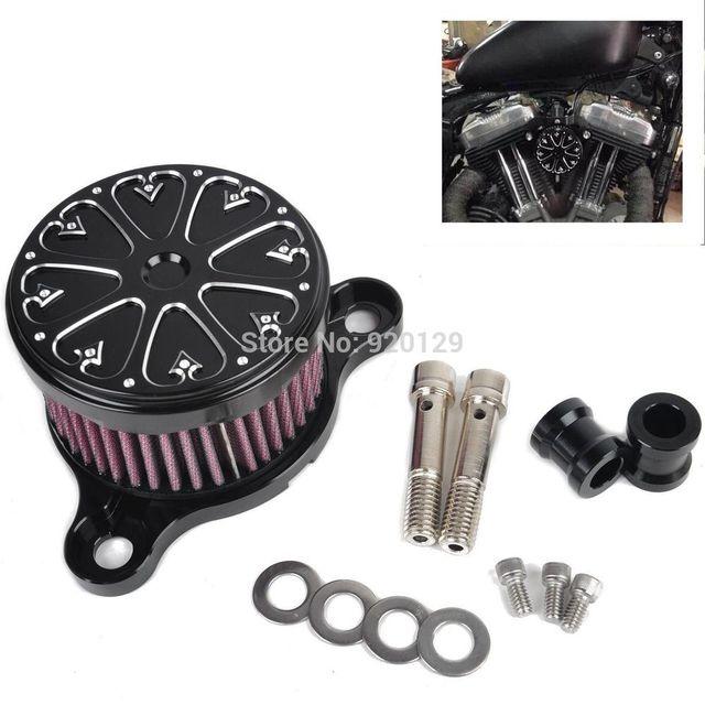 Motocicleta Preto Air Filter Cleaner Intake Air Filter System Para Harley Sportster XL 883 1200 2004-2014