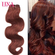 UNA HUMAN HAIR Pre-Colored #33 Dark Auburn Indian Body Wave 3 Bundles Deal 100% Hair Non-Remy Human Wefts
