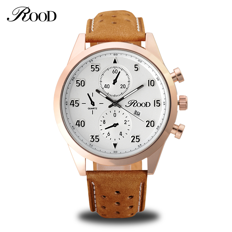 Sport Men s Quartz Wrist Watch ROOD Military Watch For Men Clock Leather Strap Men Watches