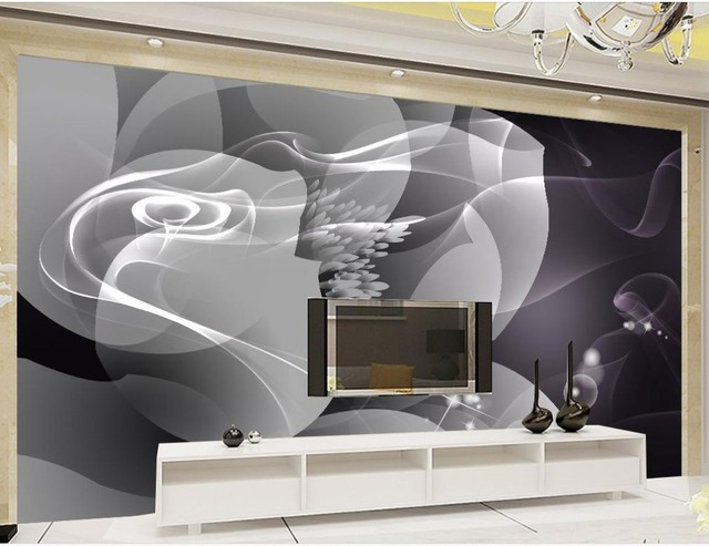 Modern abstract background black and white smoke flower background wall decoration painting mural 3d wallpaper