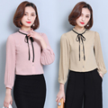 2017 New Spring Female Plus Size Women Clothing Women Tops And Blouses 2016 New Fashion Lace Collar Shirt Chiffon Pleated Blouse
