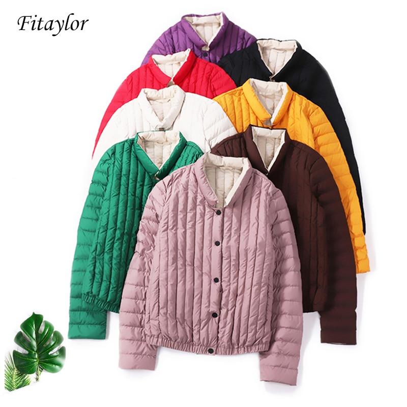 Fitaylor New Winter Duck Down Jacket Women Ultra Light Short Duck Coat Stand Collar Slim Short Warm Clothes Coats
