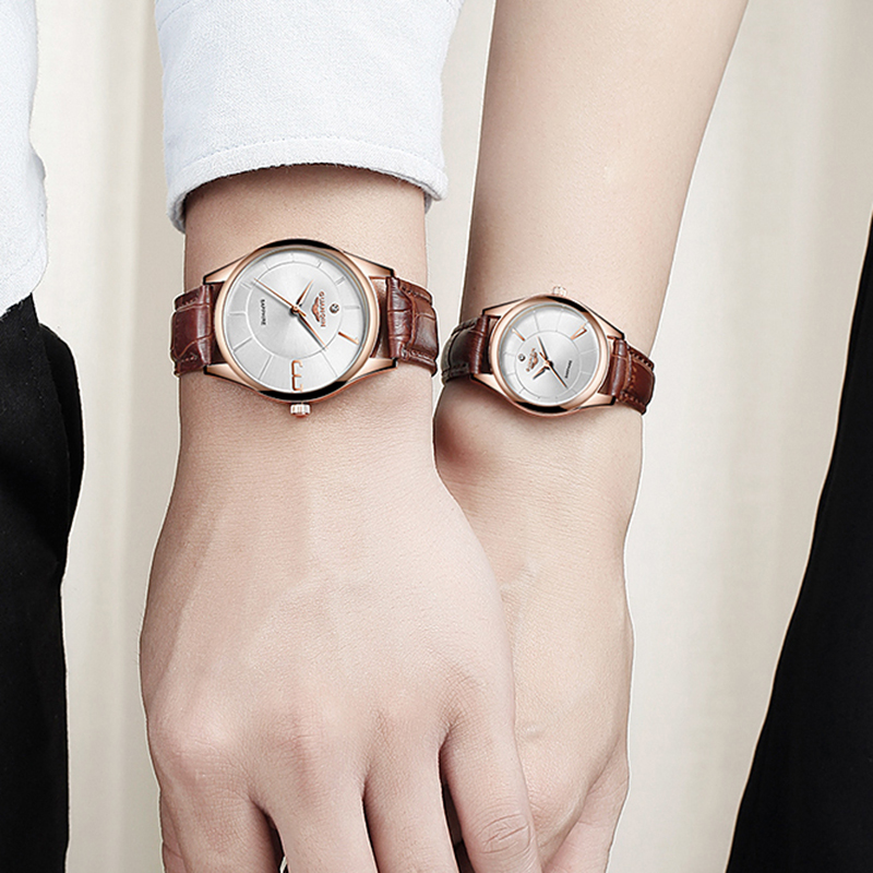 GUANQIN oro rosa para mujeres y hombres, reloj de cuarzo de negocios, reloj de pulsera de lujo para damas, reloj de pulsera para mujeres, reloj femenino - 5
