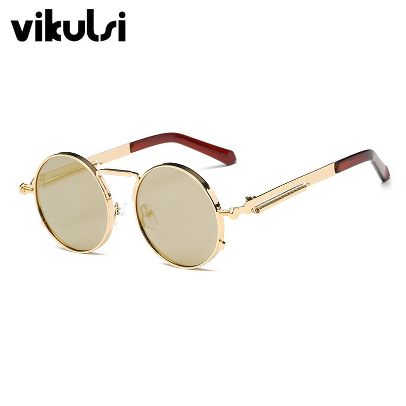 073eaeffc48 Gothic Steampunk Sunglasses Men Women Clear Lens Glasses Metal Eyewear  Round Glassse Shades Brand Designer Sun Glasses Mirror-in Sunglasses from  Apparel ...
