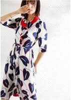 PIXY 100% шелковое платье для женщин Лето поясом za платья для с рукавом три четверти и принтом повседневное vestidos sukienki синий jurken роскошные дамы о