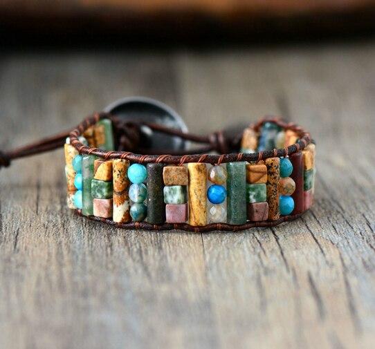 Unique Tube Shape Natural Jasper Agate Single Leather Wrap Bracelet Semi Precious Stone Beaded Cuff Bracelet Women Boho Bracelet bracelet