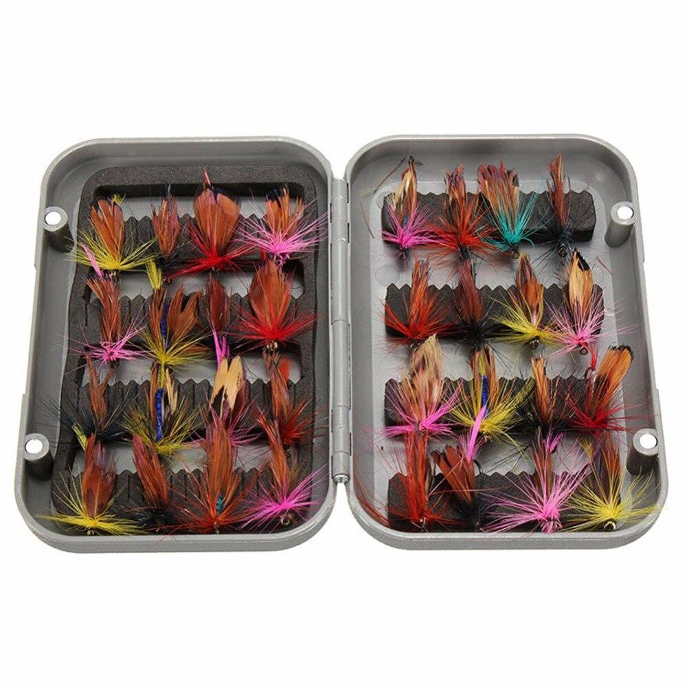 6744a65bb0c 32 Pcs Pesca Com Mosca Isca Artificial Isca Inseto Truta Ganchos Pesqueiro  com Caso Fly Fishing Lure Box