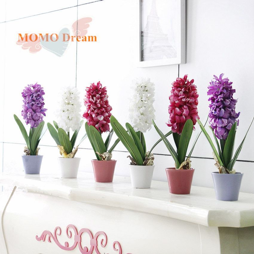 1pcs potted hyacinth artificial flowers silk flower 3 for Artificial plant decoration home