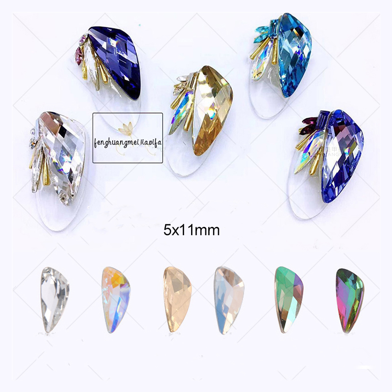 10pcs Colored crystal glass rhinestones for nails decorations new arrive  Wing design charms nail art decorations YHA150 50 pcs set 3d nail art decorations glitters diy nail tools full rhinestones silver crown crystal nails studs1