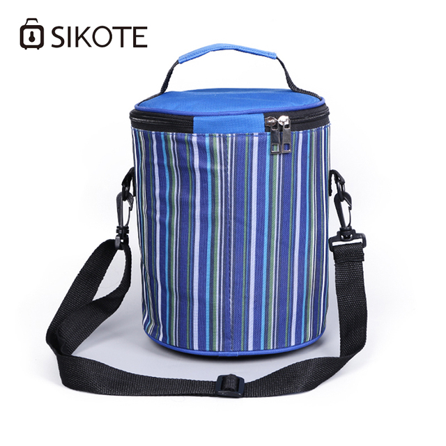 Sikote 2017 Folding Striped Lunch Box Bag Multifunctional Large Capacity Messenger Picnic Pack Insulation