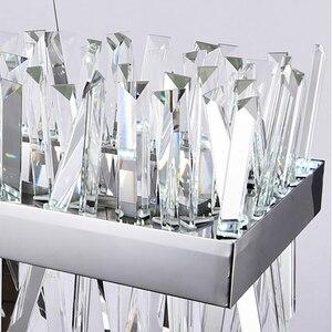Image 5 - Lustre suspendu moderne pour salon de luxe rectangle cuisine île lampes en cristal chrome led lustres pour salle à manger