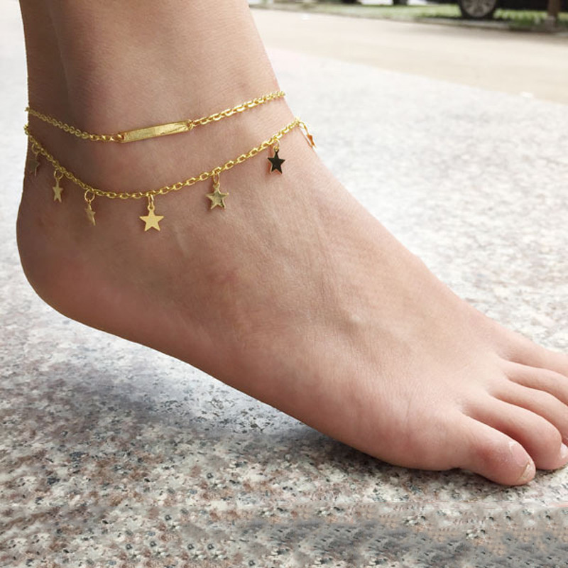 GUVIVI Anklet SilverGold Color Sky Star Summer Jewelry Foot Bracelet Chain Anklet For Women 2018 New Wholesale