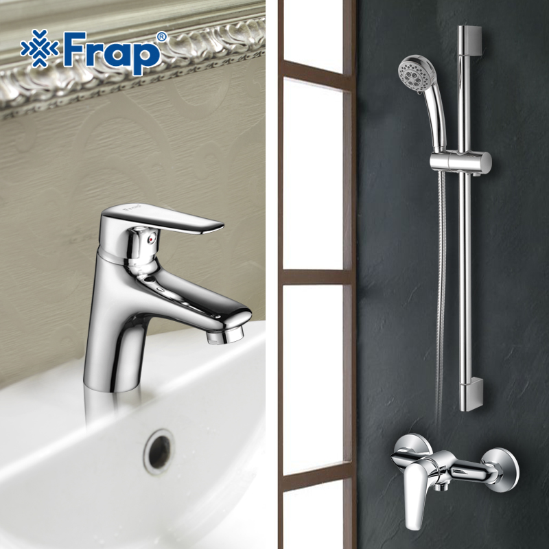 Frap New Bathroom Combination Basin Faucet Shower Tap Single Handle Cold and Hot Water Mixer with Slide Bar Torneira F2822 fie new shower faucet set bathroom faucet chrome finish mixer tap handheld shower basin faucet