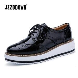 Image 3 - Jzzddown couro genuíno sapatos de luxo mulher plataforma rendas até oxford sapatos femininos mocassins porco camurça senhoras sapatos com saltos 4.5 cm