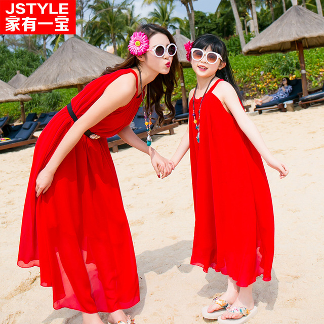 5f854589d1297 family look clothing summer sleeveless chiffon skirt color bohemian mom  baby matching mother and daughter clothes dresses-in Family Matching  Outfits ...