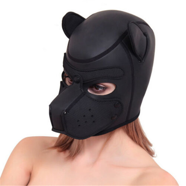Brand New Latex Role Play Dog Mask Cosplay Full Head Mask with Ears Padded Rubber Puppy Cosplay Party Mask 10 Colors Mujer 1