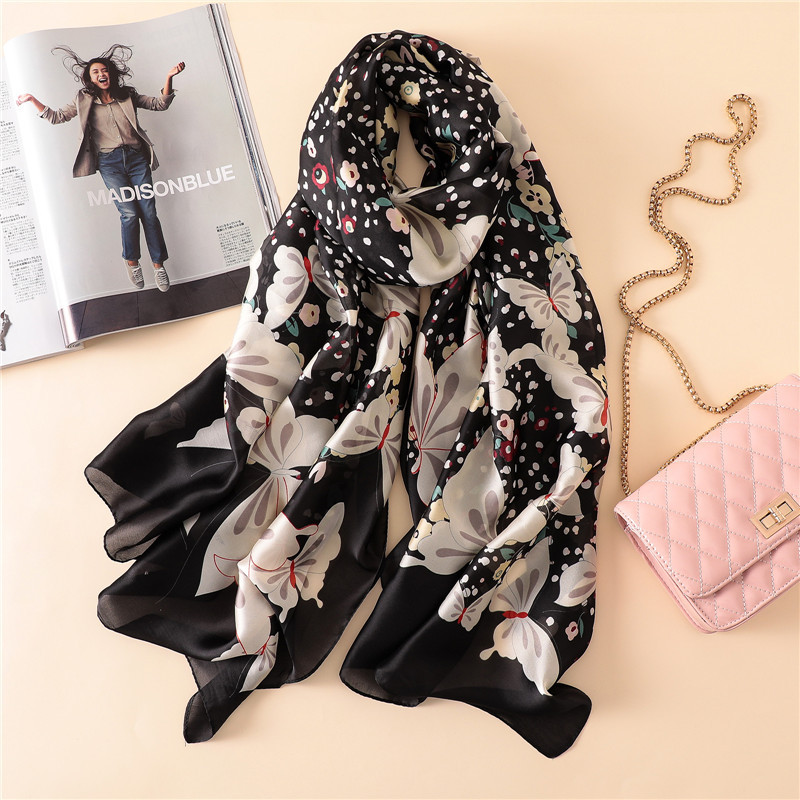 2018 Summer Women Silk   Scarf   Female Soft Pure 100% Silk   Scarf   Fashion Flower Printed Floral Beach Cover up Foulard Shawls   Wraps