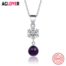925 Sterling Silver Women Necklace Round Bead Red Purple Pink Crystal Snowflake Pendant Necklace Female Jewelry недорого