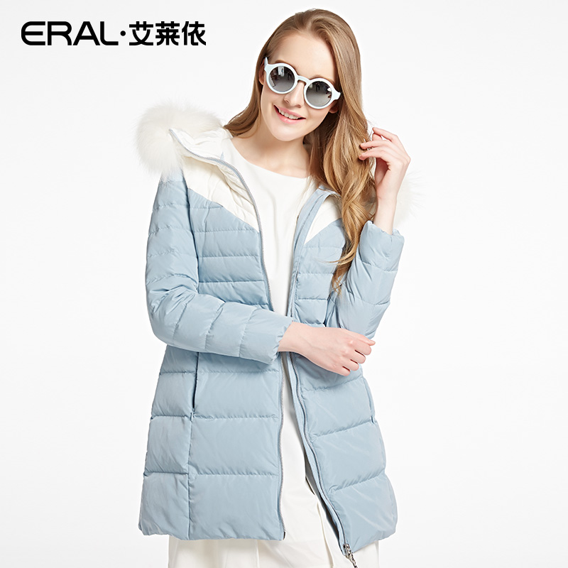 12c8a3671dac ERAL Women s Winter 2016 New Slim Fur Luxury Casual Hooded Solid Medium  Long Down Coat ERAL16096-EDAB