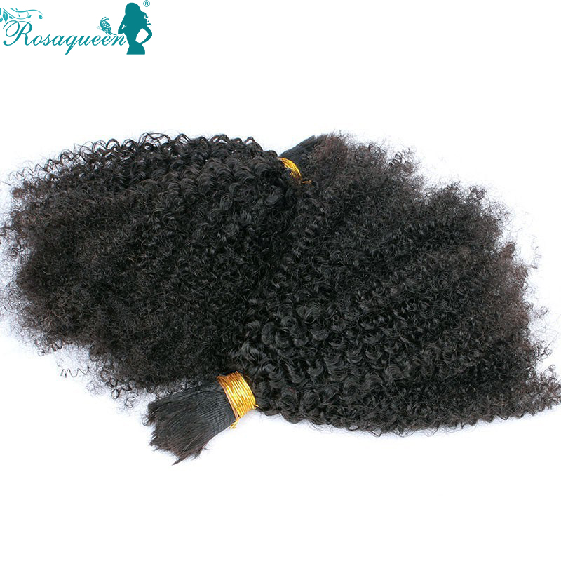 Brazilian Virgin Hair Afro Kinky Curly Bulk Hair For Braiding Kinky Curly Bulk Hair No Attachment Natural Black Wholesale Cheap