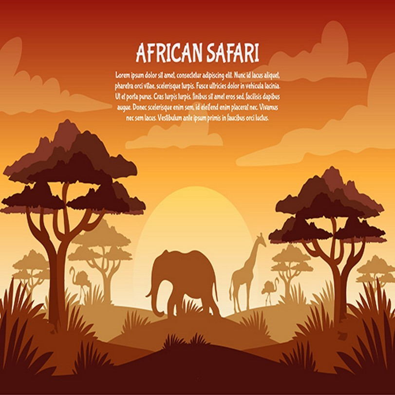African Safari Tree Zoo Animals Elephant Giraffe Photography Backgrounds Vinyl cloth Computer printed wall photo backdrop paper sun white cloud colour colorful photography backgrounds vinyl cloth computer printed birthday photo backdrop