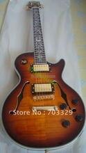 new A custom shop small jazz guitar VS vintage sunburst F hole flame top rosewood fretboard fire inlay semi hollowed body