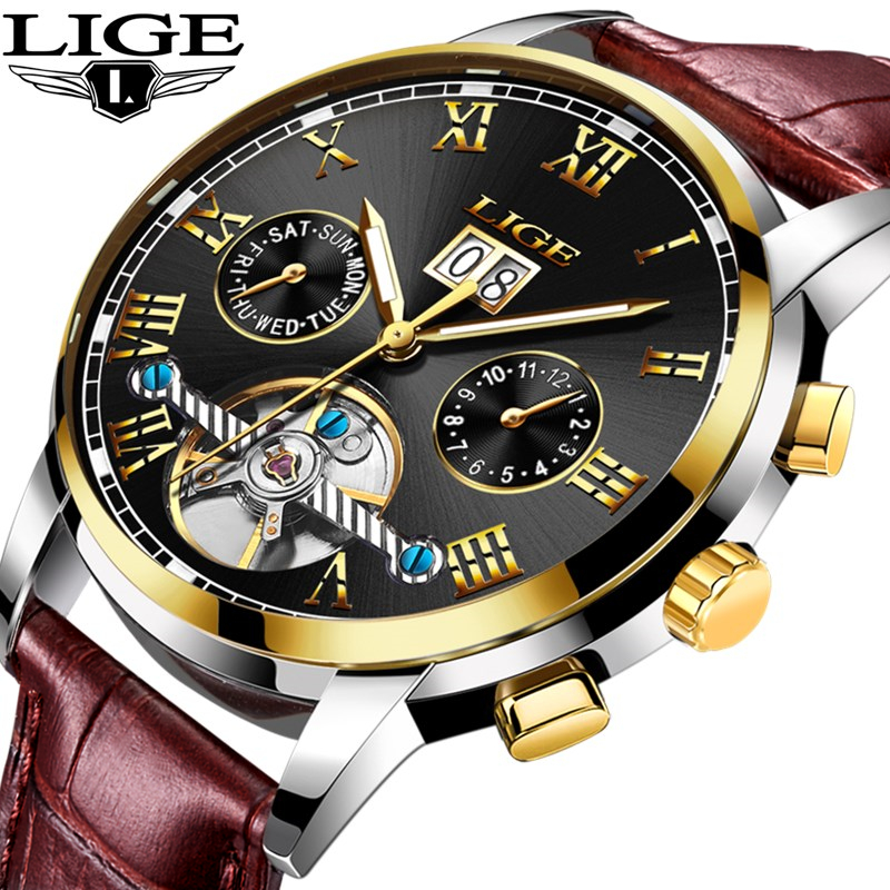 LIGE Mens Watches Top Brand Luxury Military Sport Watch Leather Business Waterproof Mechanical Watch Week Automatic Watch+BoxLIGE Mens Watches Top Brand Luxury Military Sport Watch Leather Business Waterproof Mechanical Watch Week Automatic Watch+Box