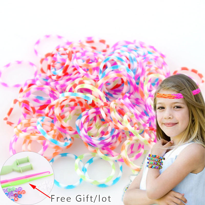 New Cheap Price 300pcs Mix Loom Rubber Loom Bands Bracelets Making Kit With Gift 1 Hook S/C Clips DIY Bracelet Bangle