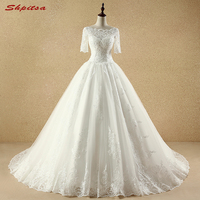Lace Wedding Dresses Ball Gown with Sleeves Beaded Chinese Wedding Gown Weeding Bridal Bride Dresses Weddingdress