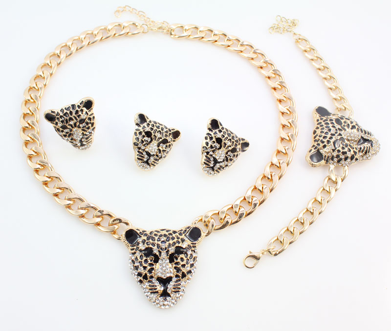 Cool Leopard Head Bracelet Earrings Ring Necklace Set para mujeres - Bisutería - foto 6
