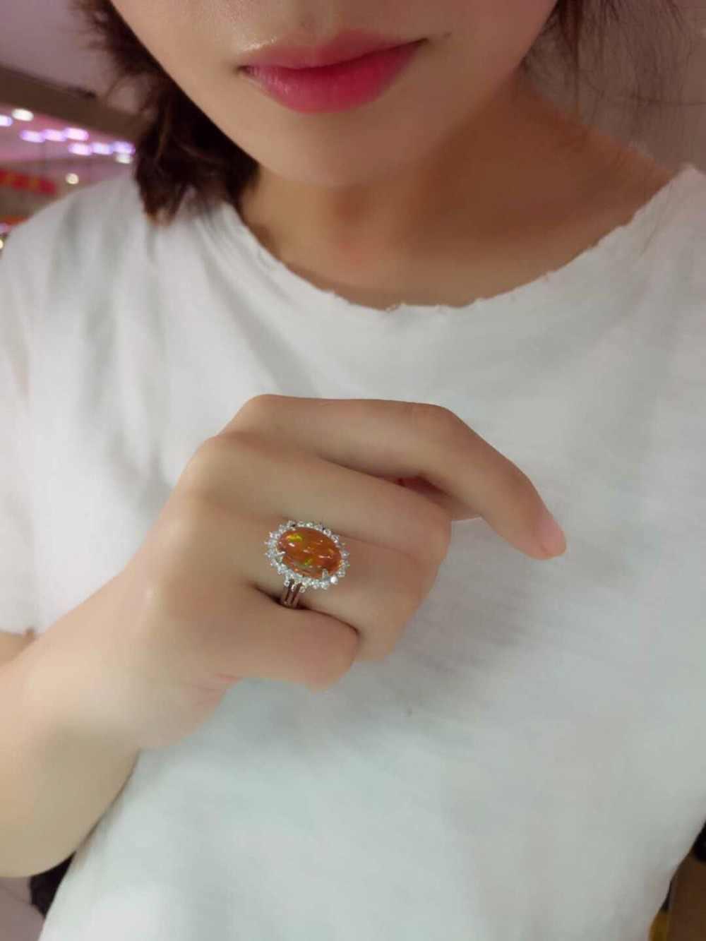 Fine Jewelry Real 3.36ct Pt900 Diamante Jóias de Platina Pura 100% Natural Pedras de Opala Anéis para As Mulheres da Fêmea's Fina anéis